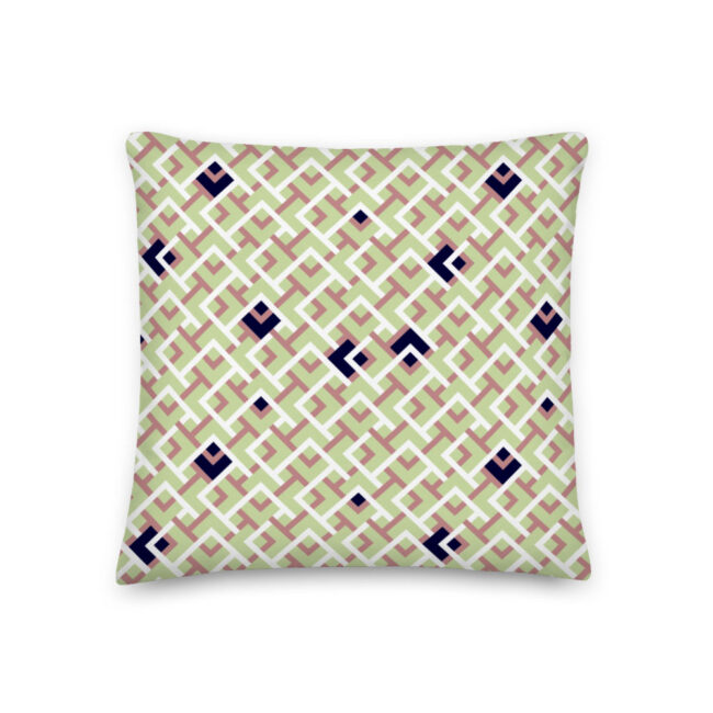 Playful Green, Navy & Rose Geometric Throw Pillow – indoor/outdoor pillow