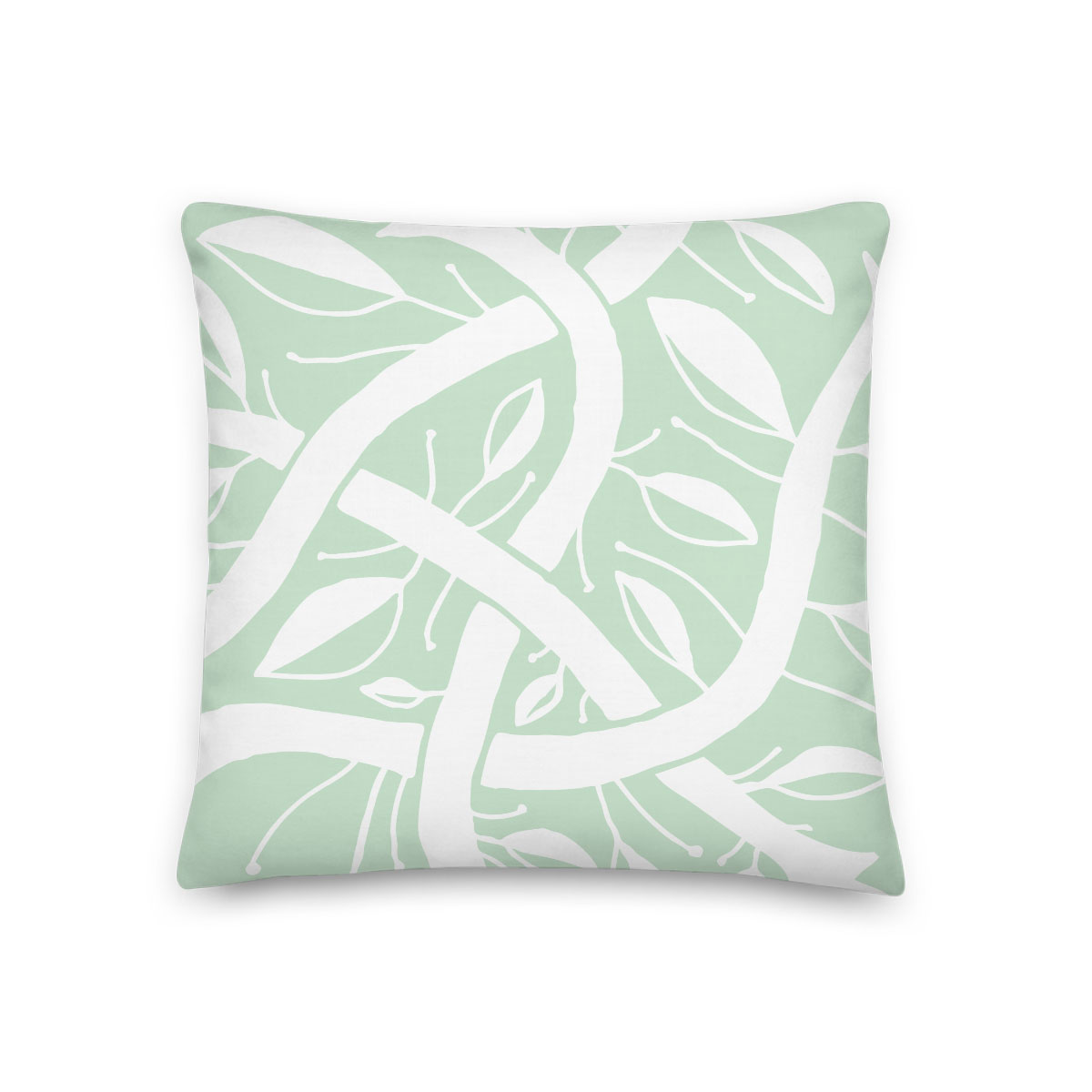 Mint Green Abstract Botanical Pillow (Bogolanfini Garden) – indoor/outdoor pillow