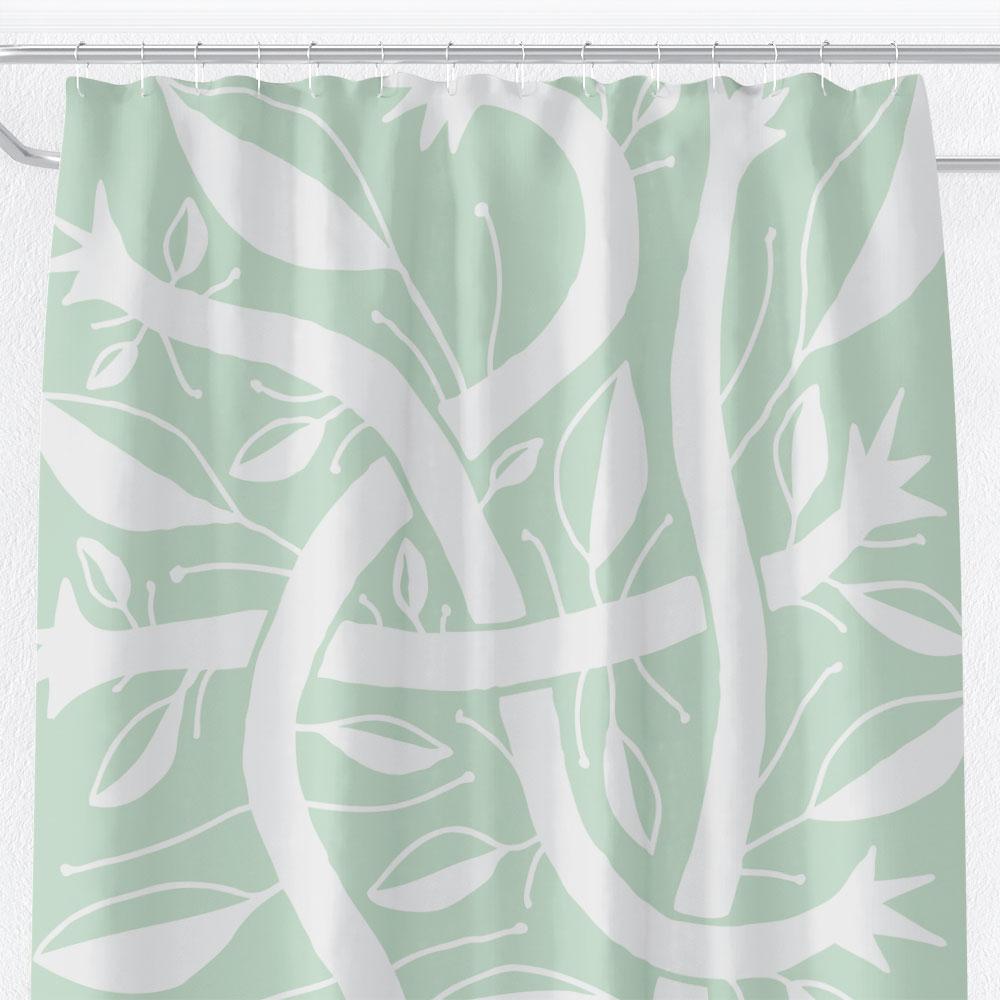 Mint Green Bogolanfini Garden – shower curtain