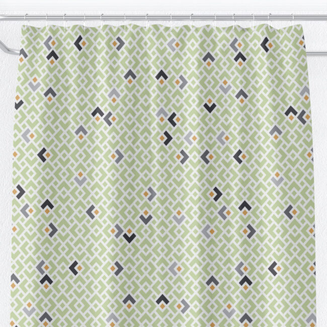 Light Green Diamond Shower Curtain with Grey Chevrons