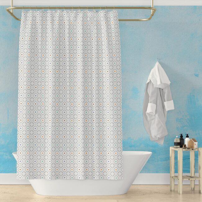 Spring Showers – geometric shower curtain