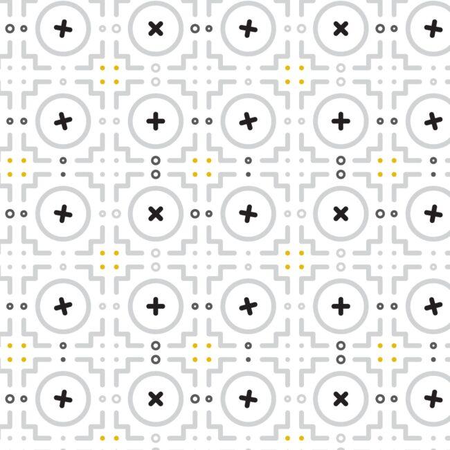 Black, White + Yellow Geometric Shower Curtain