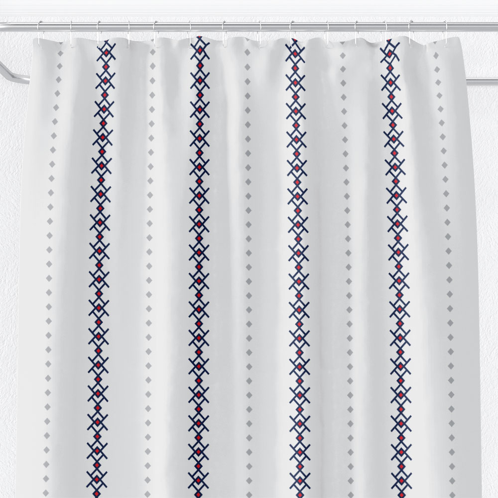White Shower Curtain with Nordic/Kuba Stripes