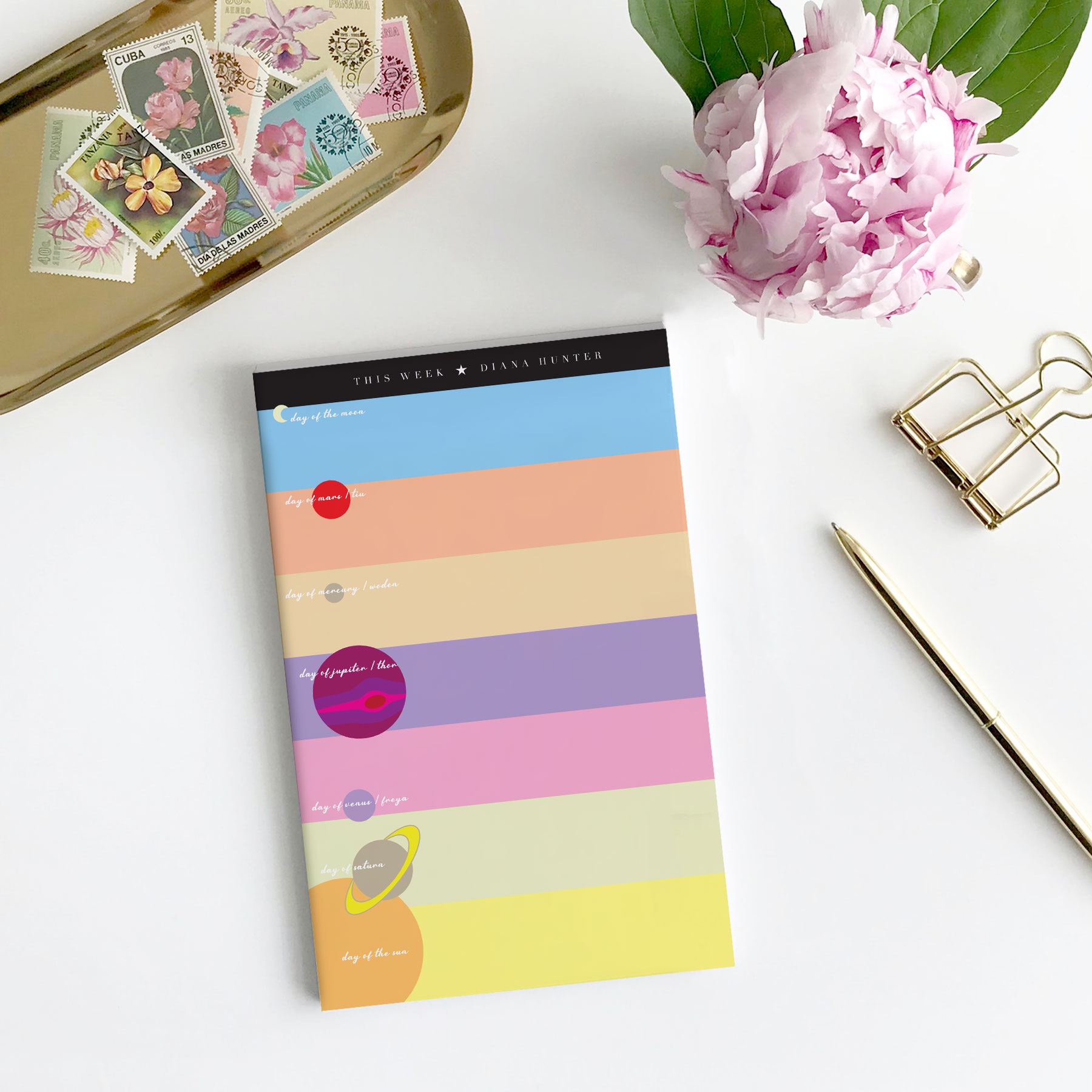 Personalized Astrological Weekly Plan Notepad (color-block)
