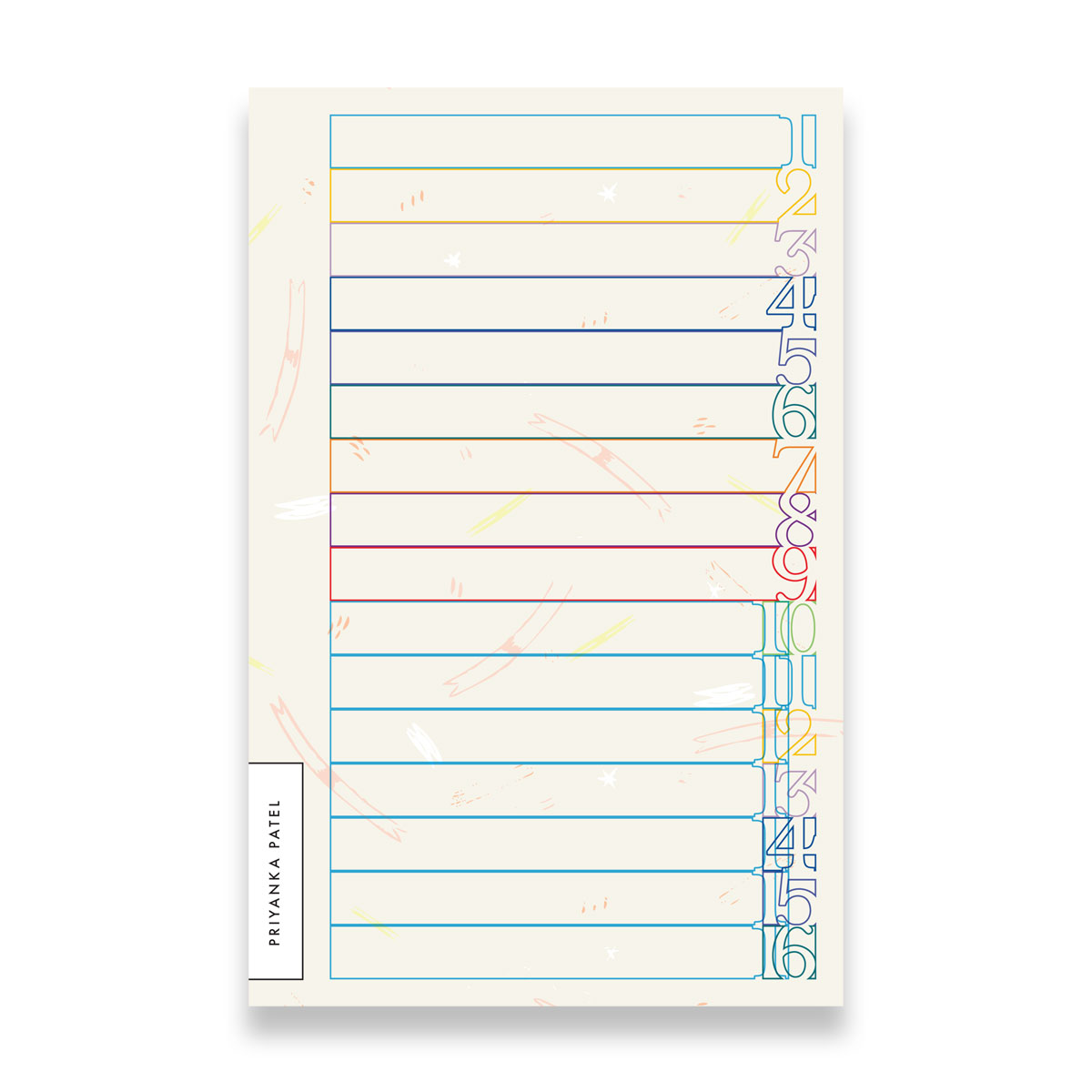 Personalized Numbered List Notepad (color block outline)