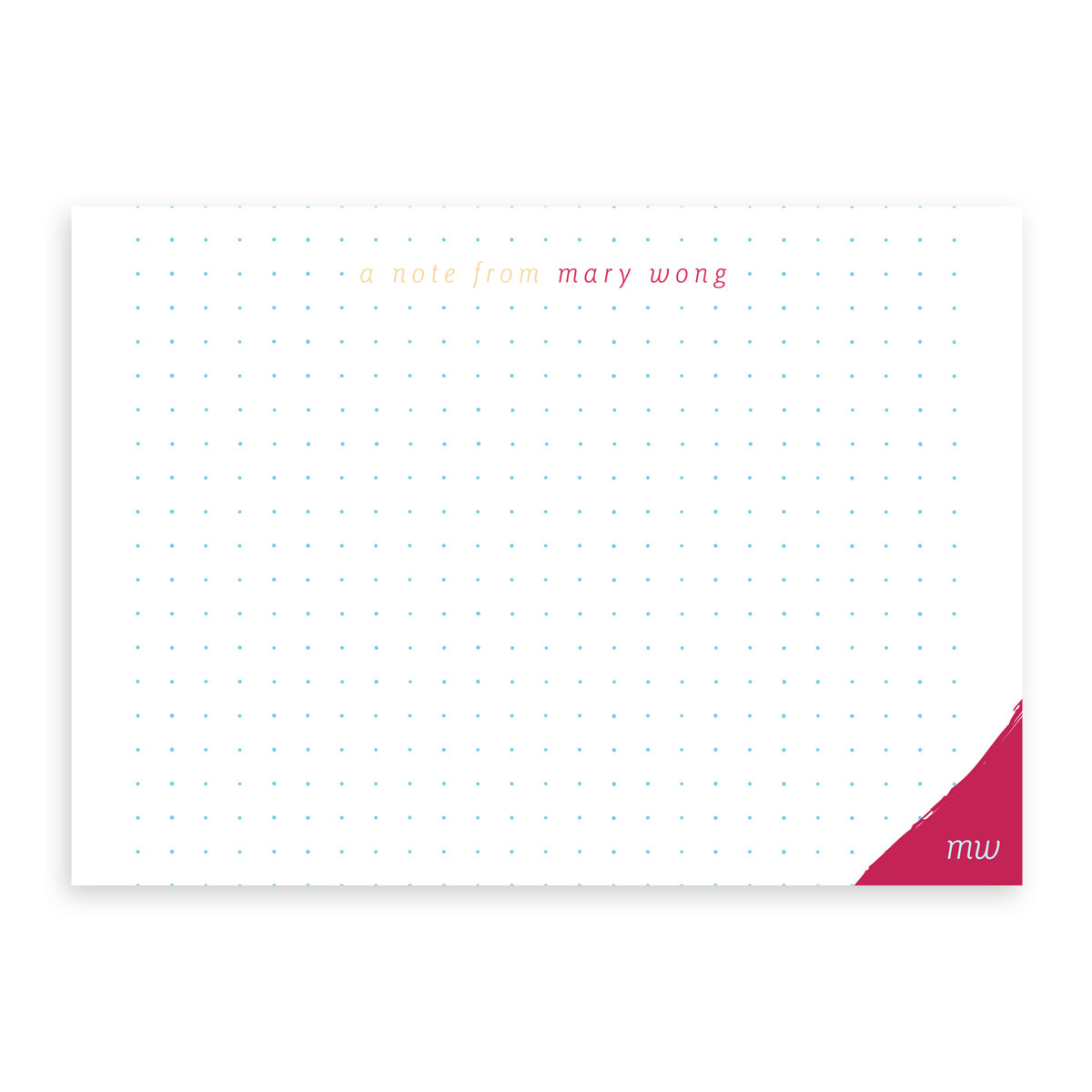 Personalized Flat Note Card Set – Dot Grid (magenta)