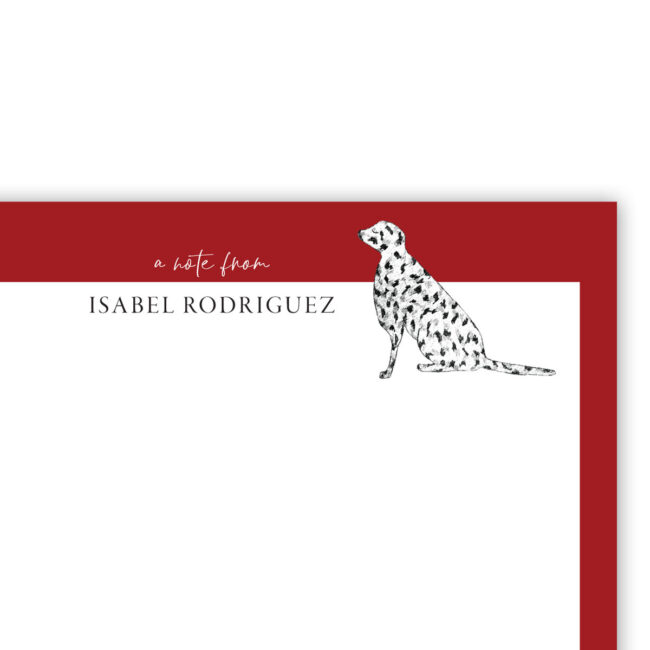Personalized Flat Note Card Set – Good Dog (Dalmatian)