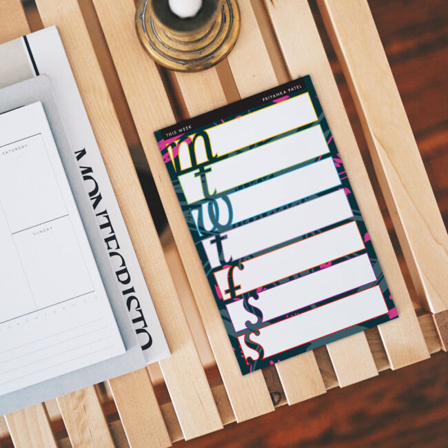 Personalized Weekly Planner Notepad – Color-Block Outline