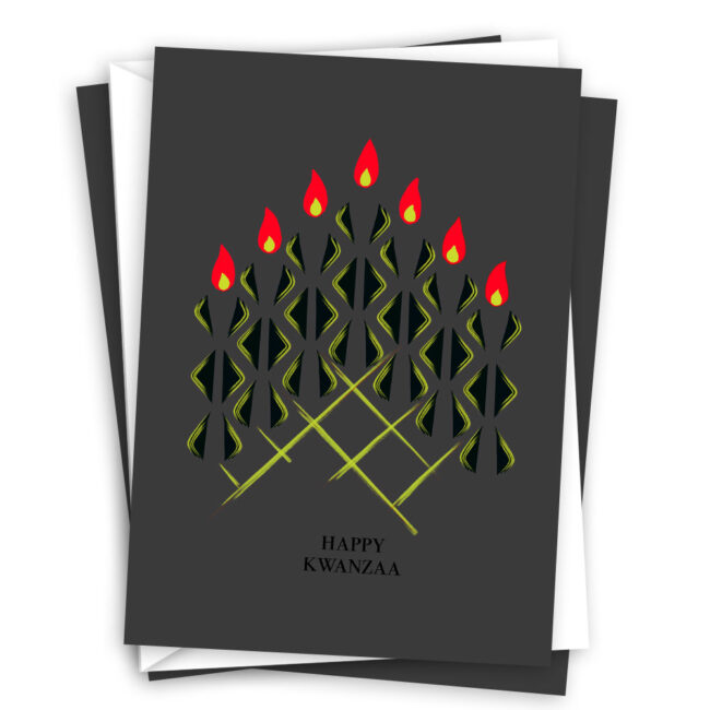 Modern Kwanzaa Card Set with Seven Candles – blank inside (10 cards)