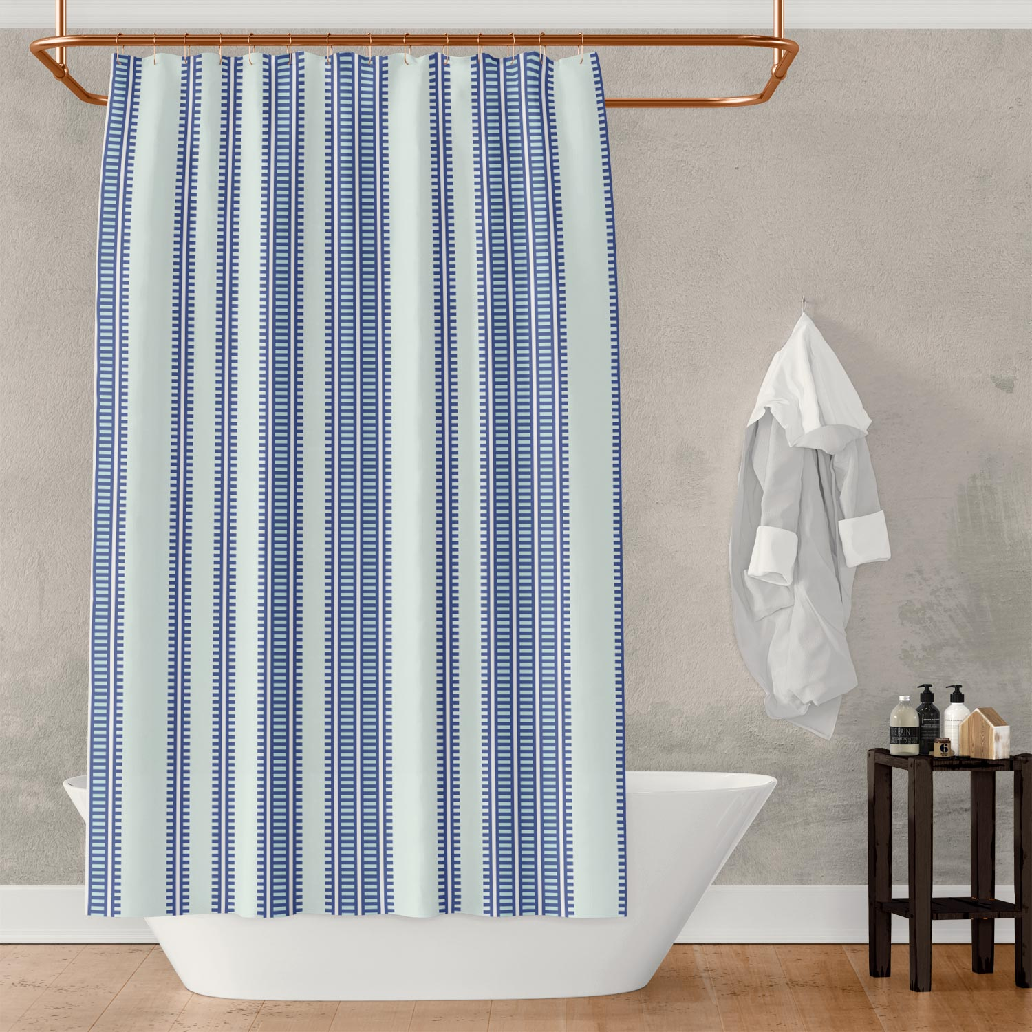 Shower Curtain in Royal Blue Vertical Stripes