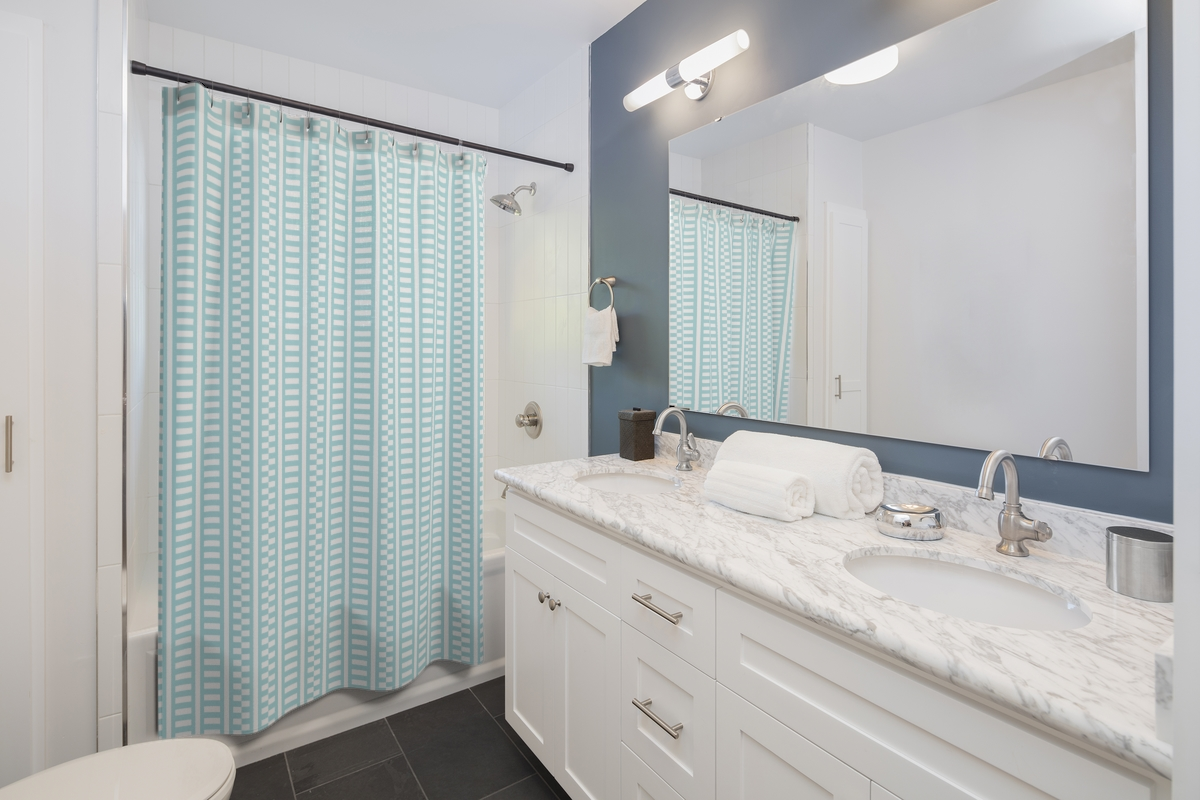Blue and White Shower Curtain (Shifted Stripes)