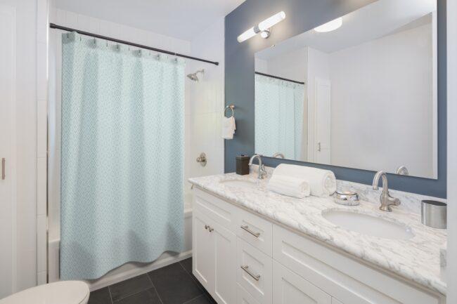 Blue & White Diamond Lattice Shower Curtain