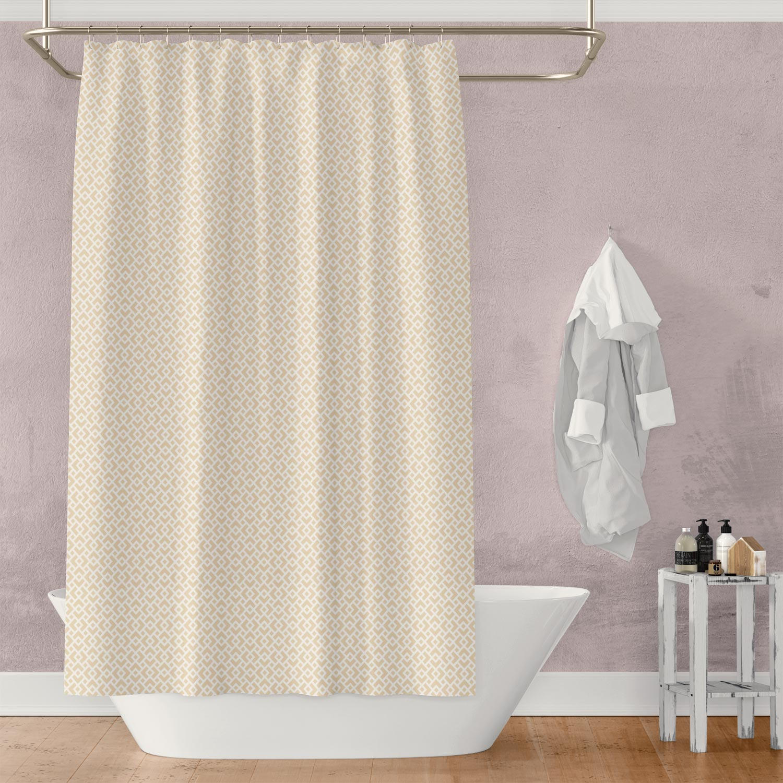 Cream & White Diamond Lattice Shower Curtain