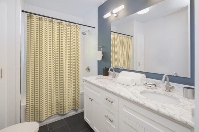 Mustard and White Shifted Stripes Shower Curtain