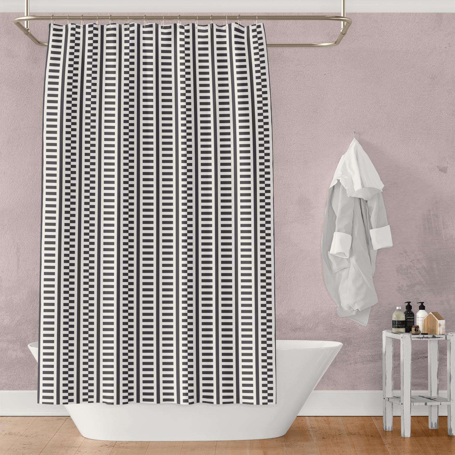 Black and White Shifted Stripes Shower Curtain