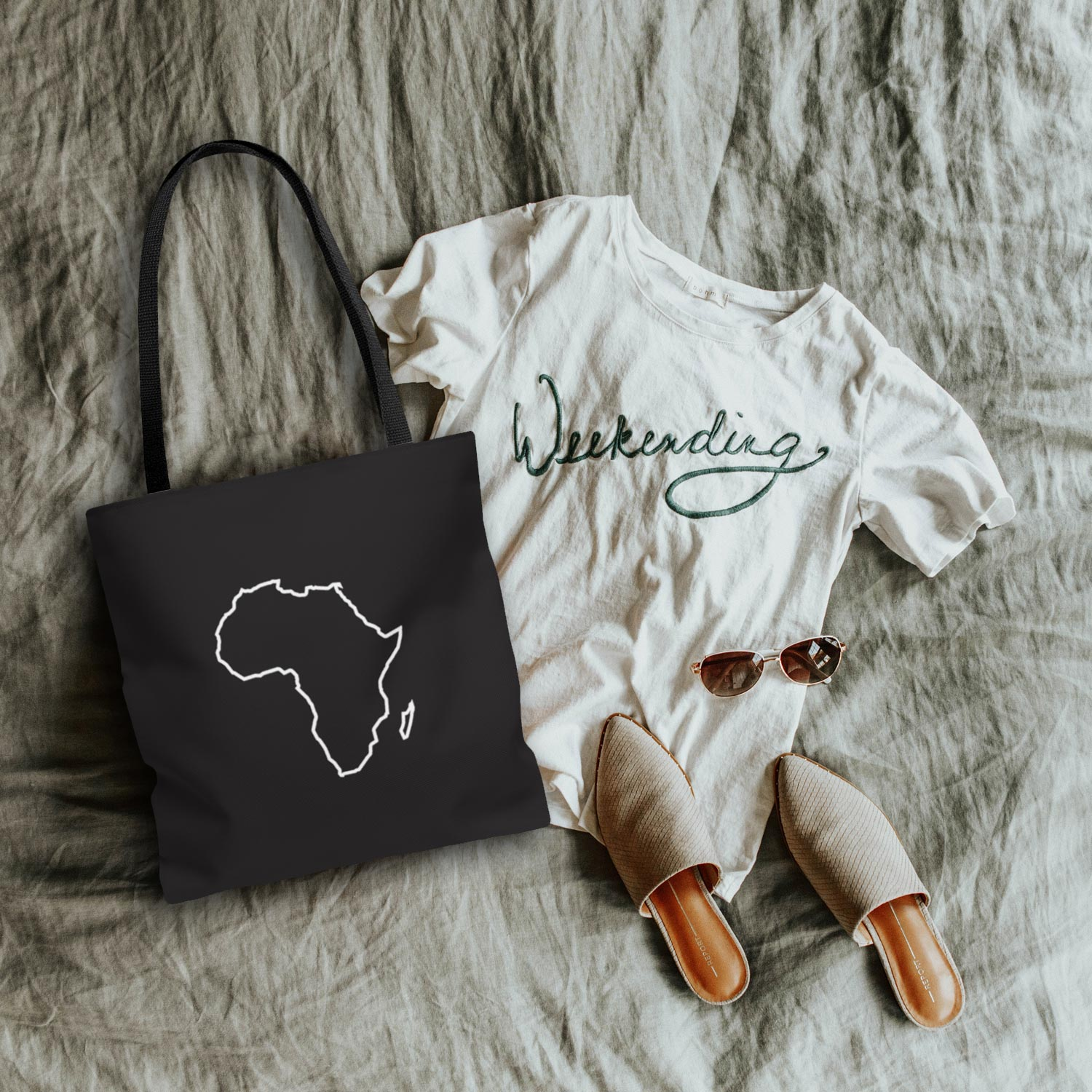 Minimalist Black Tote with Africa Silhouette